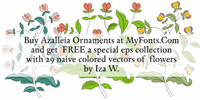 Sample image of Azalleia Ornaments Free font by Intellecta Design