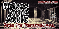 Sample image of Noises in the Attic font by KC Fonts