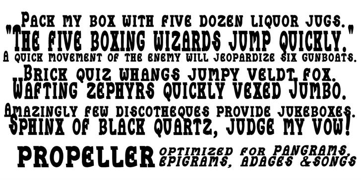 Propeller font by moonmoth design