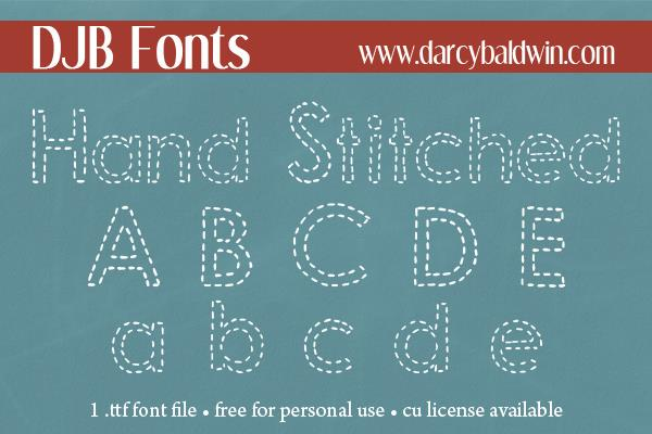 DJB Hand Stitched Alpha font by Darcy Baldwin Fonts