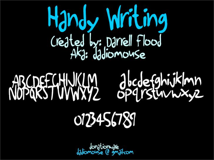 Handy Writing font by Darrell Flood