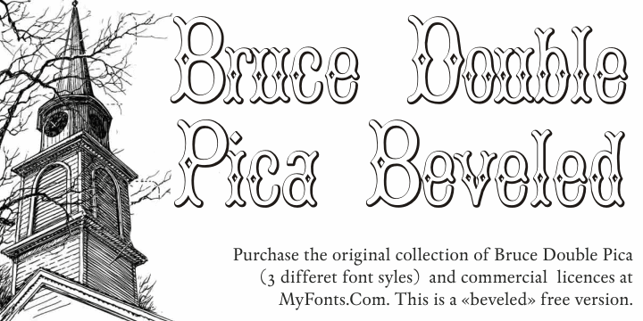 BruceDoublePica Beveled font by Intellecta Design