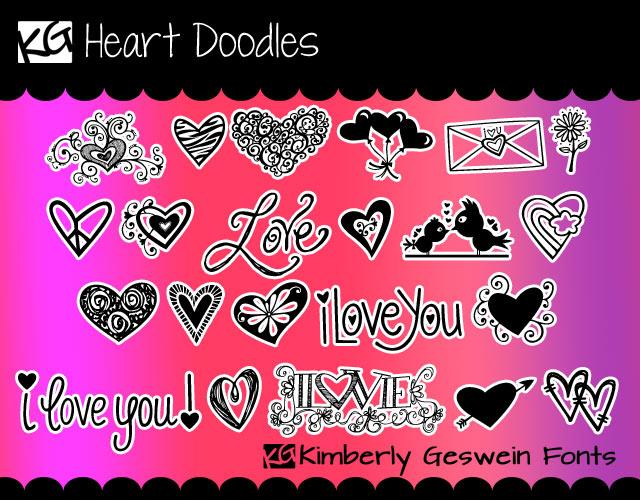 KG Heart Doodles font by Kimberly Geswein