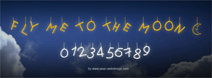 PWFlymetothemoon font by Peax Webdesign