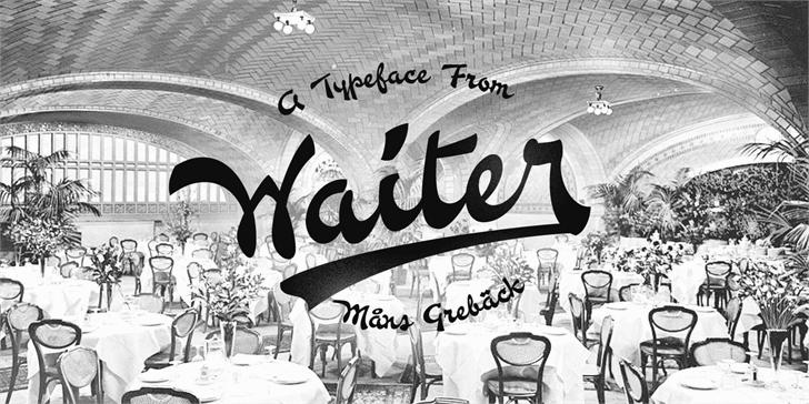 Waiter PERSONAL USE ONLY font by Måns Grebäck