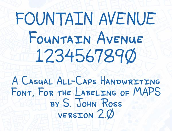 Fountain Avenue font by Cumberland Fontworks