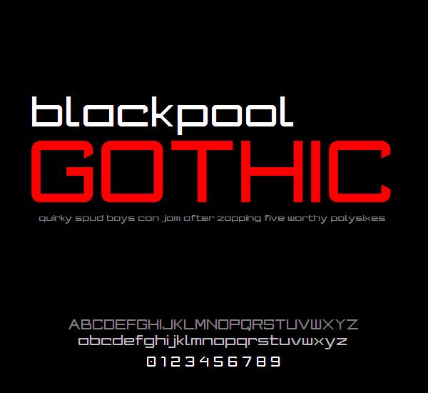 Blackpool Gothic NBP font by total FontGeek DTF, Ltd.