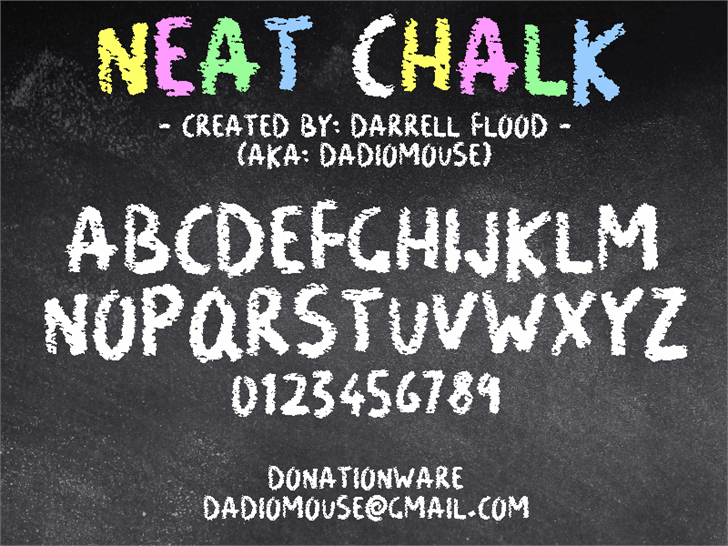 Neat Chalk font by Darrell Flood
