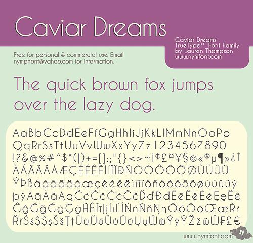 Caviar Dreams font by Nymphont