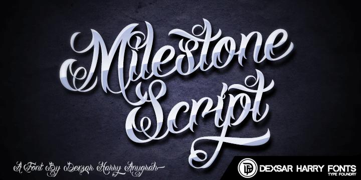 DHF Milestone Script Demo font by Dexsar Harry Anugrah