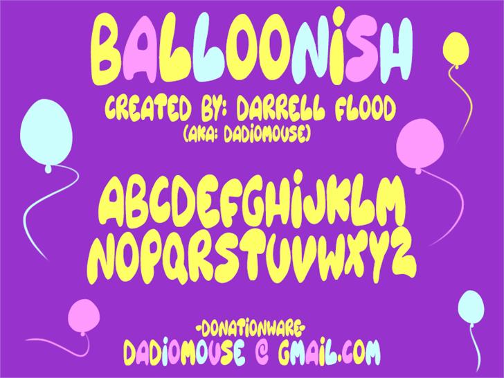 Balloonish font by Darrell Flood
