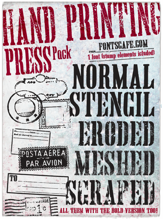 Hand Printing Press Eroded DEMO font by FontsCafe