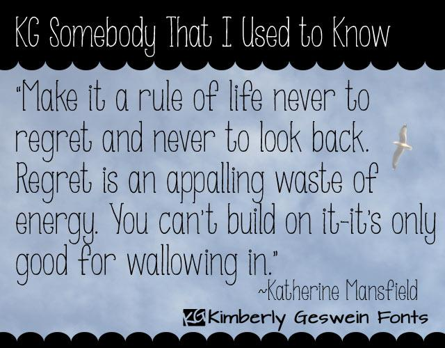 KG Somebody That I Used to Know font by Kimberly Geswein