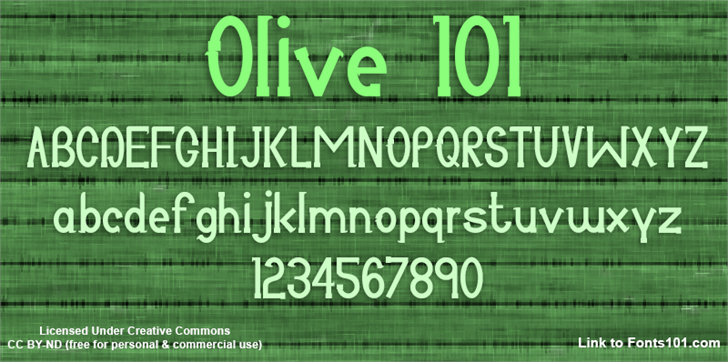 Olive 101 font by Fonts101