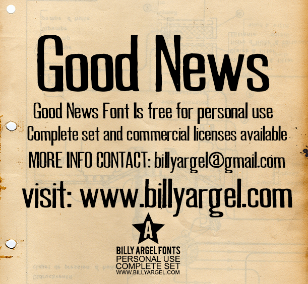 GOOD NEWS PERSONAL USE font by Billy Argel