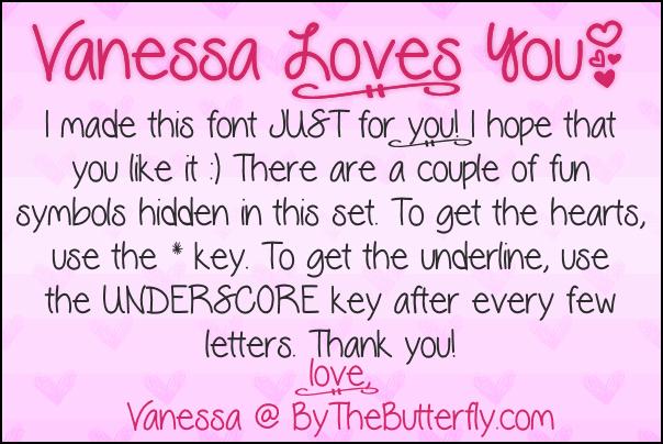 VanessaLovesYou font by ByTheButterfly