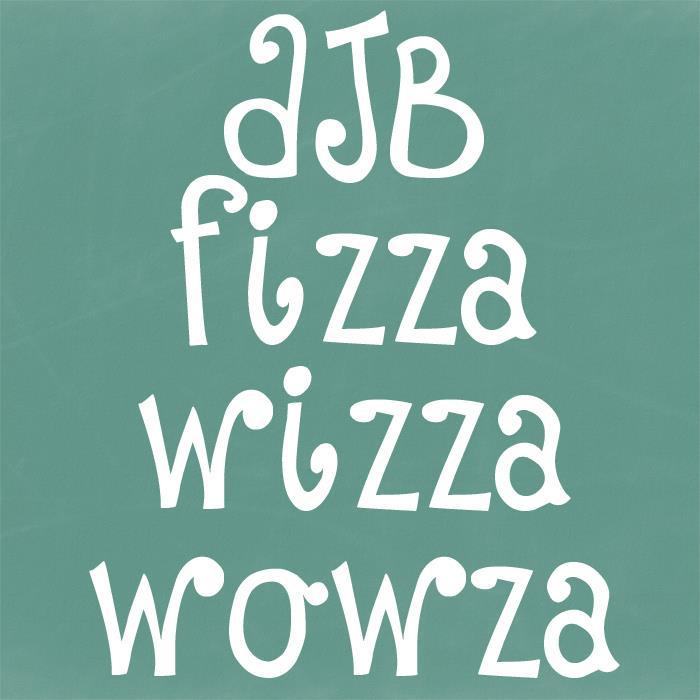 DJB Fizza Wizza Wowza font by Darcy Baldwin Fonts