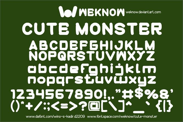 cute monster font by weknow