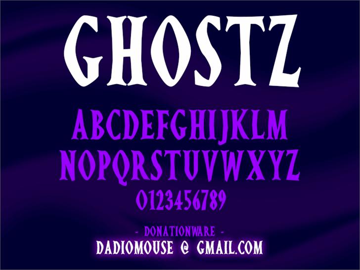 Ghostz font by Darrell Flood