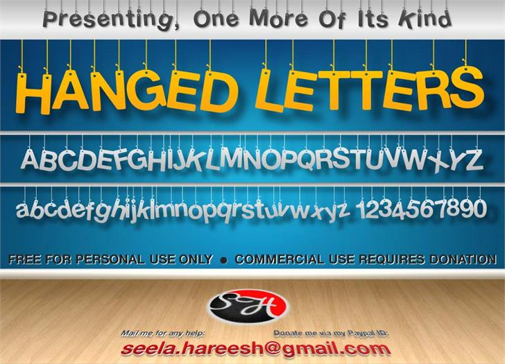Hanging Letters font by Hareesh Seela