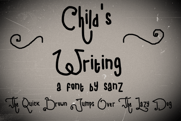child writing font by 'Sanz Fonts