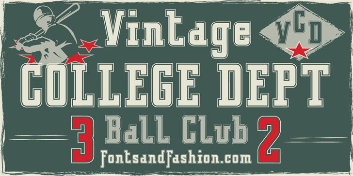 VINTAGE COLLEGE DEPT_DEMO_outli font by Fontsandfashion