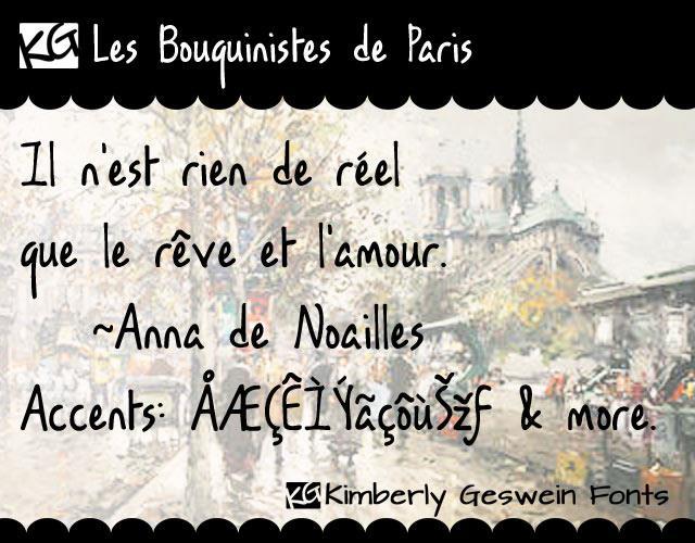 KG Les Bouquinistes de Paris font by Kimberly Geswein