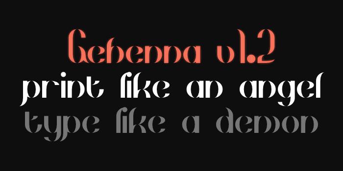 Gehenna font by Pixel Kitchen