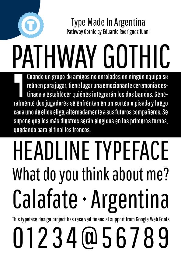 Pathway Gothic One font by Eduardo Tunni