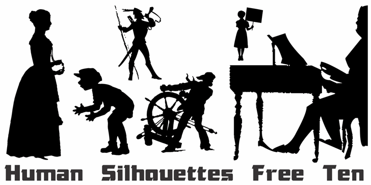 Human Silhouettes Free Ten font by Intellecta Design