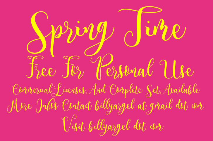 Spring Time Personal Use font by Billy Argel