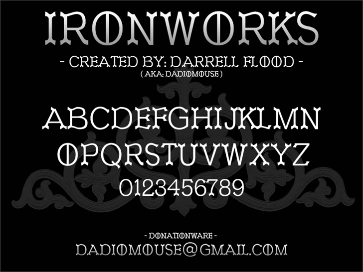 Ironworks font by Darrell Flood