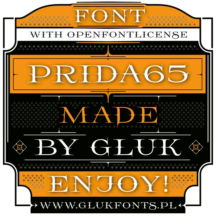 Prida65 font by gluk