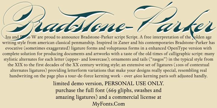 Bradstone-Parker Script Limited font by Intellecta Design