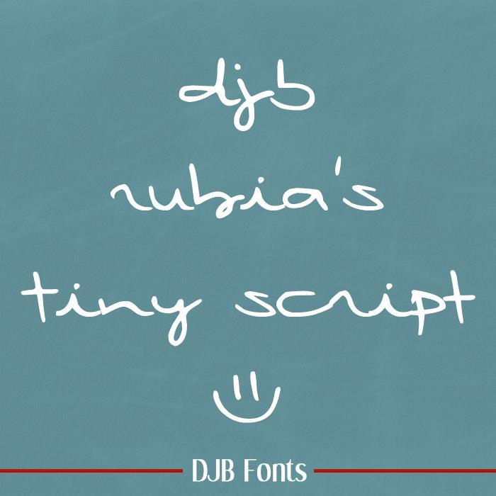DJB Rubia's Tiny Script font by Darcy Baldwin Fonts