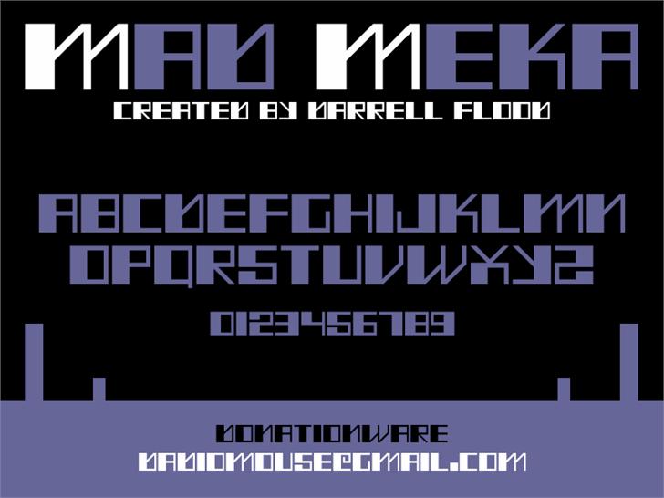 Mad Meka font by Darrell Flood