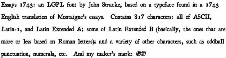 Essays 1743 font by John Stracke