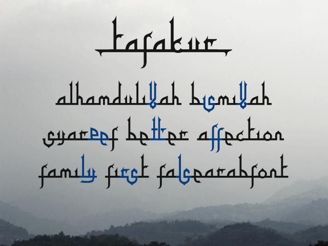Tafakur font by Gunarta