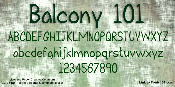 Balcony 101 font by Fonts101