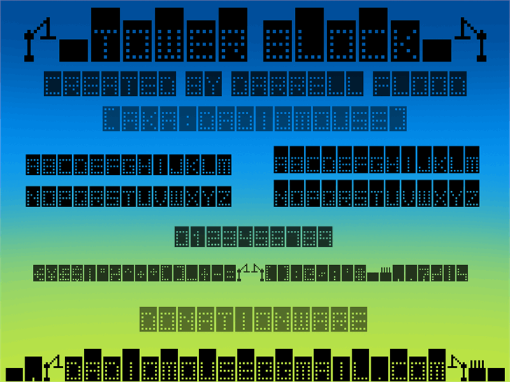 Tower Block font by Darrell Flood