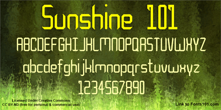 Sunshine 101 font by Fonts101