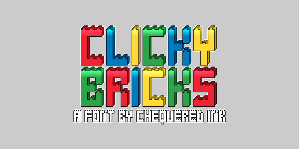 Clicky Bricks font by Chequered Ink