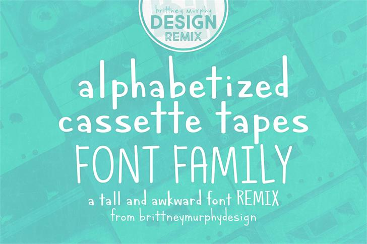 Alphabetized Cassette Tapes font by Brittney Murphy Design