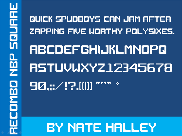 Recombo NBP Square font by total FontGeek DTF, Ltd.