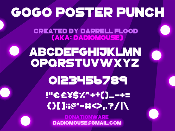 GoGoPosterPunch font by Darrell Flood