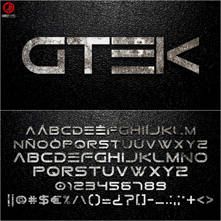 gtek technology font by qbotype fonts