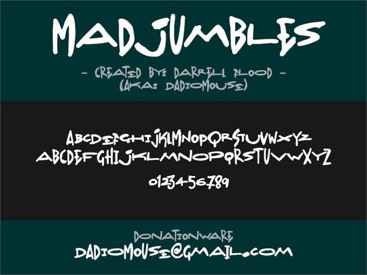 Madjumbles font by Darrell Flood