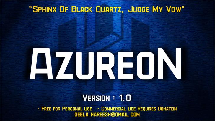 AzureoN font by Hareesh Seela