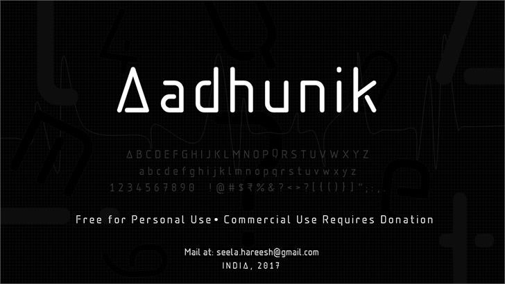 Aadhunik font by Hareesh Seela