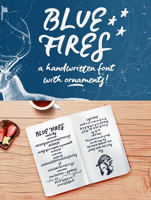 Blue Fires Sample font by justlikethistrain